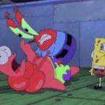 Mr. Krabs choking Patrick Spongebob meme template blank