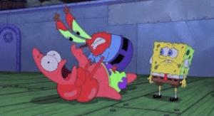 Mr. Krabs choking Patrick Patrick meme template
