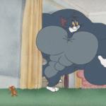 Strong Tom Cat Peeking Around Corner  meme template blank Tom and Jerry