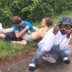 Black guy posing in front of white kids fighting / wrestling  meme template blank