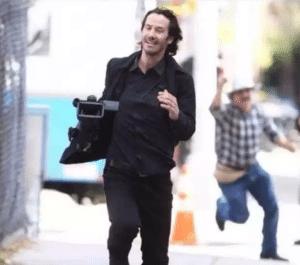 Keanu Reeves running with camera Keanu meme template