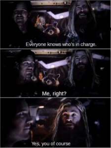 Everyone knows whose in charge Avengers meme template