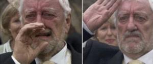 Old Man Crying then Saluting Sad meme template
