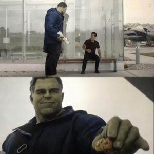 The Hulk Giving Ant Man a taco Avengers meme template