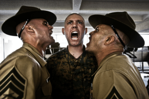 Two drill seargents yelling at soldier Angry meme template