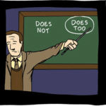Professor Explains Does Not, Does Too  meme template blank Pointing at Board