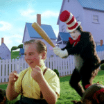 Cat in the Hat sneaking up behind Dr Seuss meme template blank