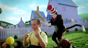 Cat in the Hat sneaking up behind Subterfuge meme template