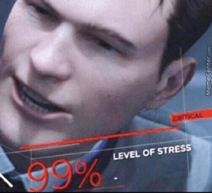 Level of Stress 99 Percent Angry meme template