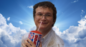 Alexei in Heaven with Slurpee Stranger Things meme template