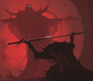 Giving sword to giant monster Sword meme template