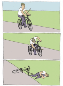 Putting stick in bike Opinion meme template