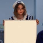 Robin holding sign Stranger Things meme template blank