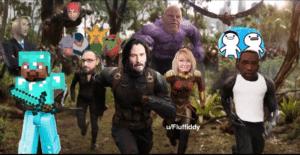 Meme Avengers running Chimera meme template