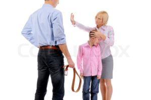 Mom stopping dad from hitting kid with belt Stock Photo meme template