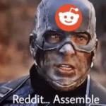 Captain America 'Reddit assemble'  meme template blank Marvel Avengers