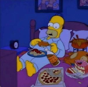 Homer eating food in bed Food meme template