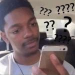 Black guy looking at phone confused Looking meme template