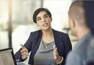 Woman explaining Stock Photo meme template