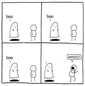 Ghost scaring comic (blank) Opinion meme template