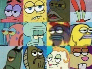 Spongebob characters neutral expression Fred the Fish meme template