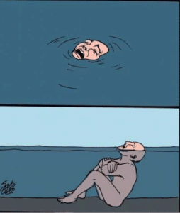 Drowning in shallow water Opinion meme template