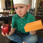Gavin holding apple and cheese  meme template blank