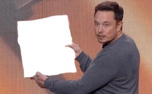 Elon Musk holding sign Opinion meme template
