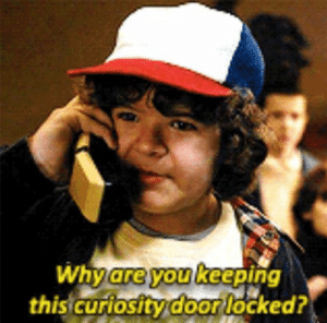 Why are you keeping the curiosity door locked? Stranger Things meme template