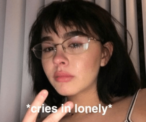 Asian girl cries in lonely Sad meme template