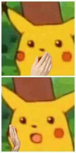 Surprised Pikachu with Hand Chimera meme template