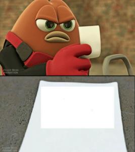 Killer bean reading paper Holding Sign meme template