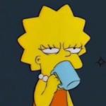 Lisa Drinking Coffee Simpsons meme template blank Annoyed