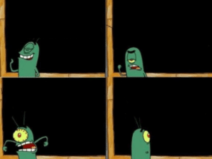 Plankton in front of chalkboard Opinion meme template