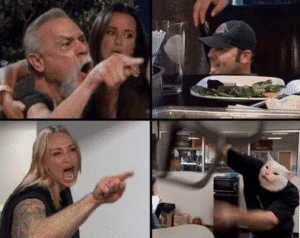 Angry white woman combined with dad yelling at son Angry meme template