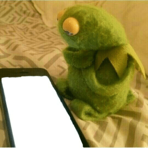 Kermit looking at phone (blank) Holding Sign meme template