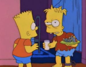 Bart and Crazy Bart Bart meme template