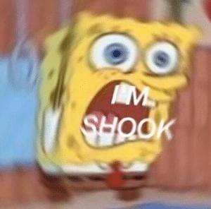 Spongebob 'Im shook' Surprised meme template