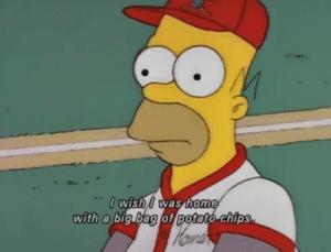 "Homer ""I wish I was home with a big bag of potato chips"" Food meme template"