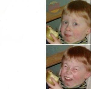 Kid eating apple then laughing Eating meme template
