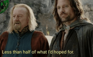 Less than half of what id hoped for LOTR meme template