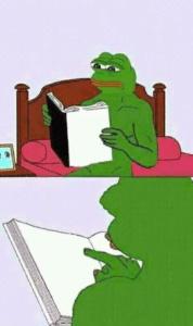 Pepe reading book Reading meme template