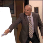 Creed pointing at board The Office meme template