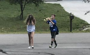 Playing trumpet in girls ear Music meme template
