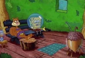 Spongebob watching TV sad Sad meme template