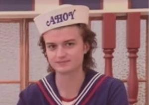 Steve with Ahoy hat Stranger Things meme template