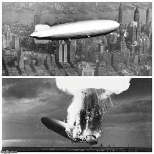 Hindenburg crashing Lying meme template