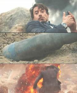 Tony Stark looking at bomb (blank template) Avengers meme template
