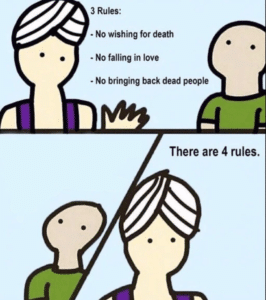 Genie 'There are four rules' (blank) Opinion meme template