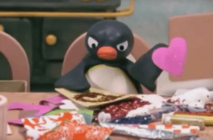Angry Pingu with Heart Wholesome meme template
